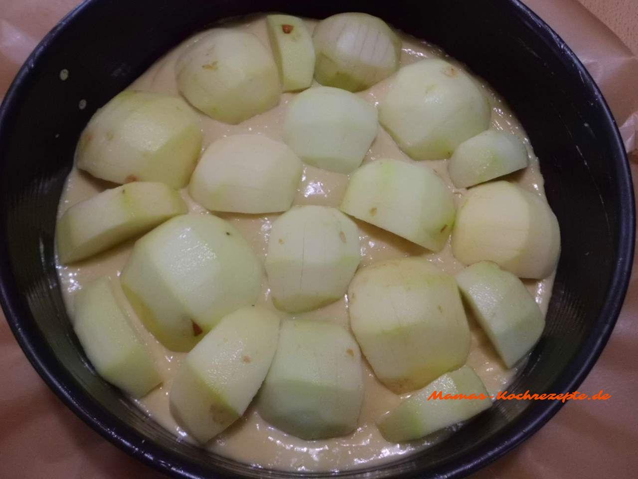 Apfelkuchen fertig zum Backen