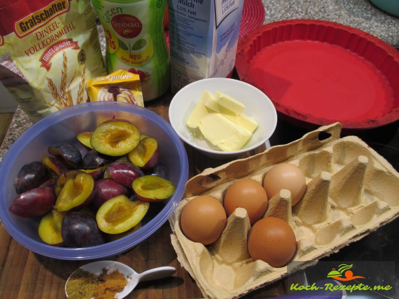 Zutaten für einen Vollkorn Pflaumenkuchen