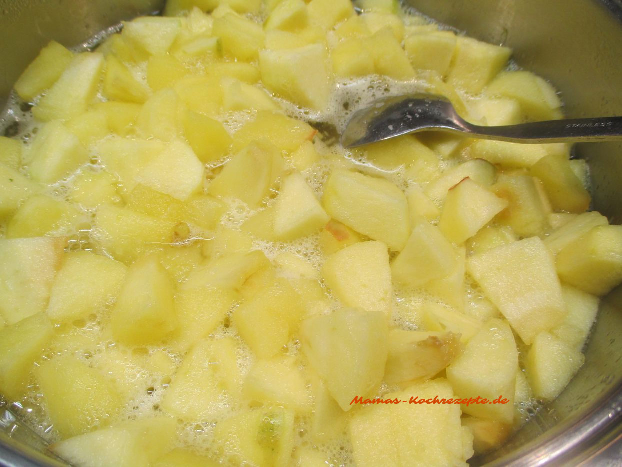 Apfelstücke mit Zucker,Wasser und Zitronensaft weich kochen