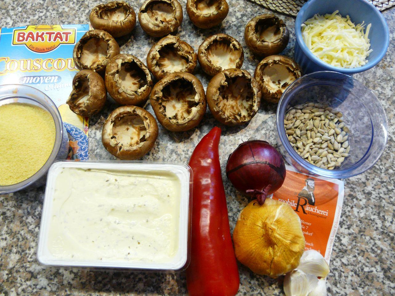 Zutaten für gefüllte Pilzköpfe
