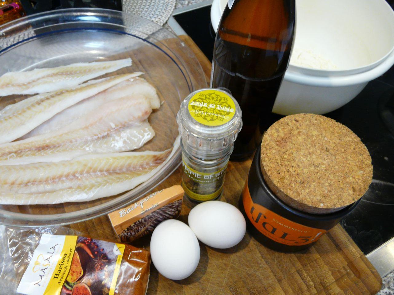 Zutaten für Fisch im Bierteig
