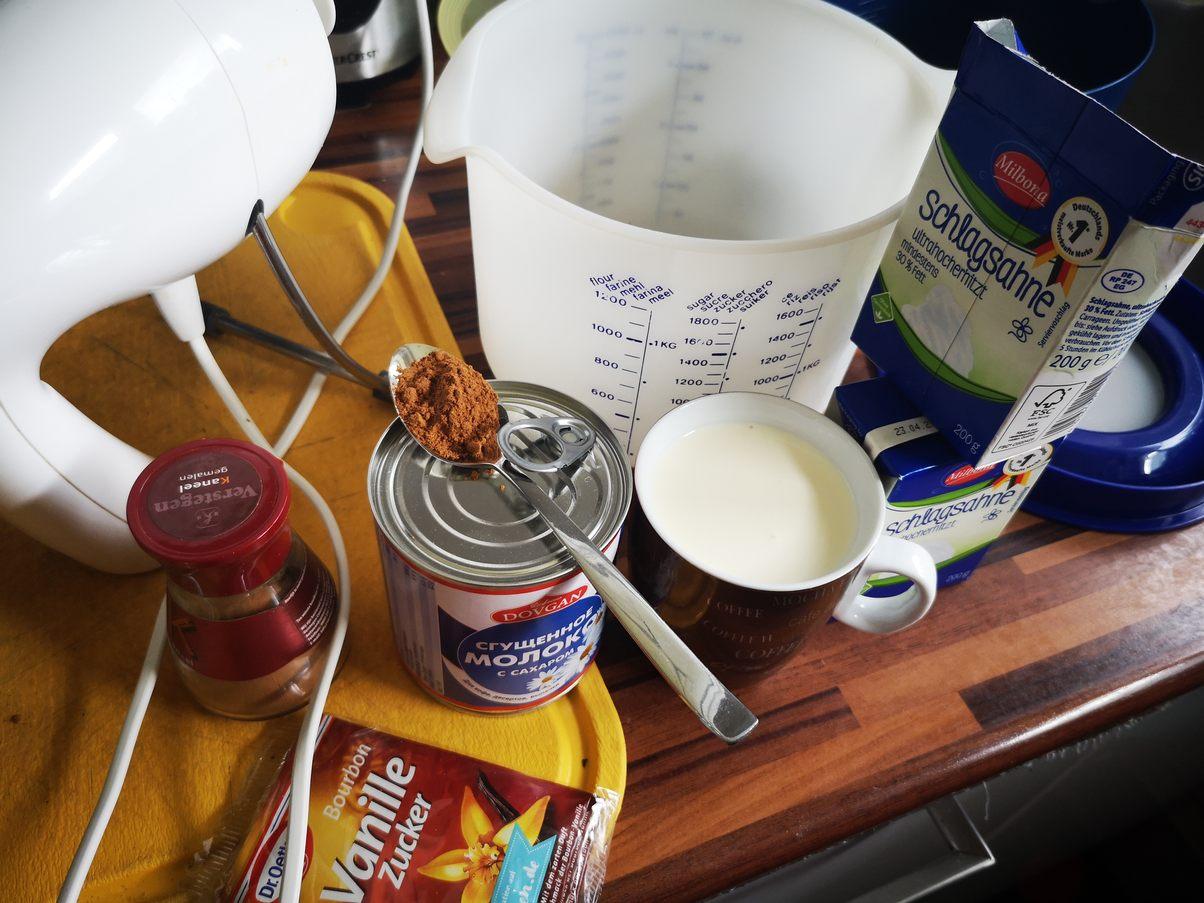 Zutaten für Milchmädchen Eis mit Zimt nur 4 Zutaten